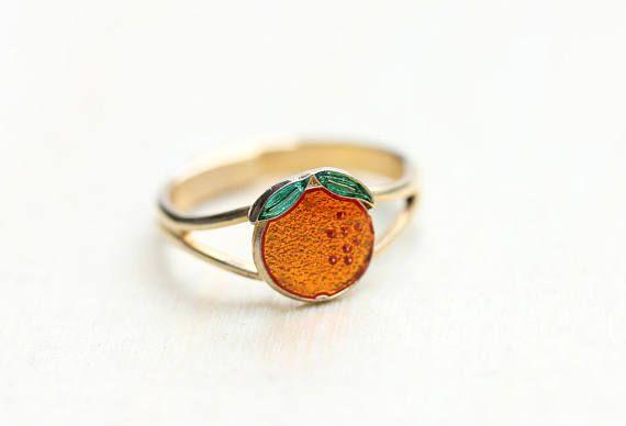 Orange Fruit Ring Orange Ring Fruit Ring Enamel Ring Small