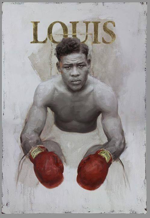 """Joe Louis """"Joe Louis"""" - 36"""" x 52"""" oil on canvas. 23k gold leaf. 2015 artist JULES ARTHUR."""