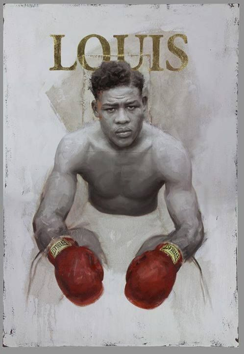 "Joe Louis ""Joe Louis"" - 36"" x 52"" oil on canvas. 23k gold leaf. 2015   artist JULES ARTHUR."