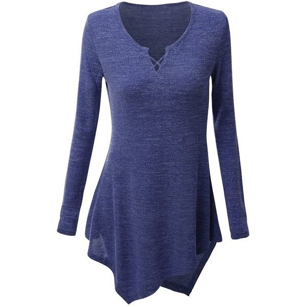 Asymmetrical Criss Cross Longline Plus Size Tee (59 PEN) ❤ liked on Polyvore featuring tops, t-shirts, rosegal, blue plus size tops, longline tee, longline t shirt, blue t shirt and women's plus size graphic tees