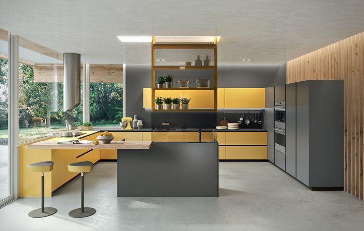 Ambra Yellow and Piombo Grey frosted glass doors and Biondo Antique Oak doors.