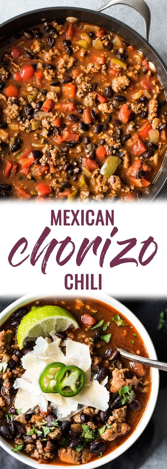 This Mexican Chorizo Chili recipe  is a warm and comforting one-pot meal perfect for the fall and winter months!