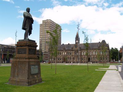 A statue of John Vaughan (1799-1868) who was Mayor of Middlesbrough in 1855
