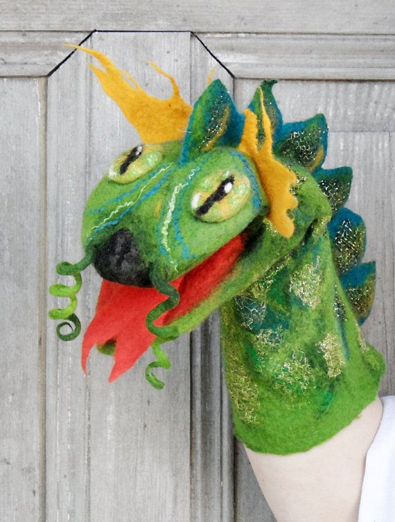 Hand Puppet Green Dragon Felted Toy For Childrens By FilcAlki
