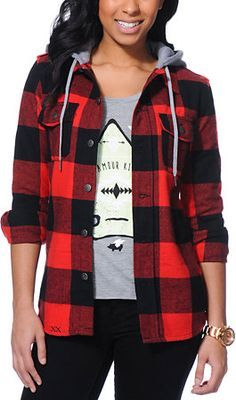 womens flannel jacket with hood - Google Search