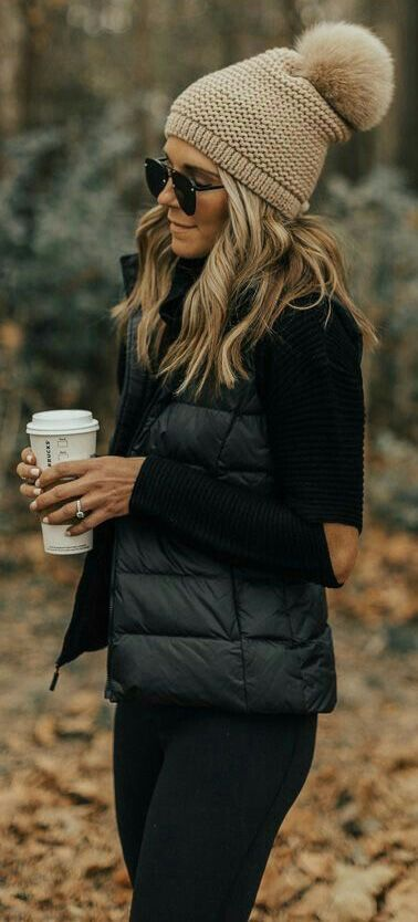 #Winter #Outfits / Black Vest + Sweater + Beige Beanie