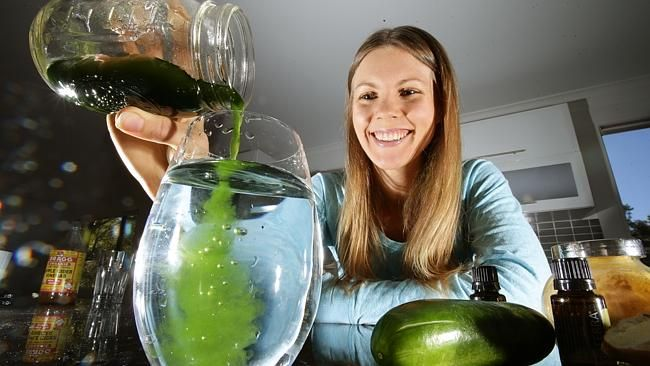 Jessica Ainscough making 'wellness water' from liquid chlorophyll. Picture: Jamie Hanson