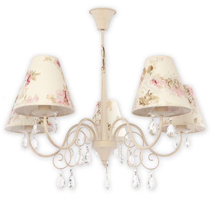 Deckenlampe Lampe Leuchte Kroneleuchter Shabby Deckenleuchte Blumen Stoffs L5