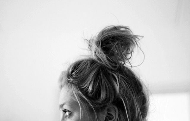topknot. why do I have to have so much hair? I want a cute little bun like this, but mines just the same size as my head.
