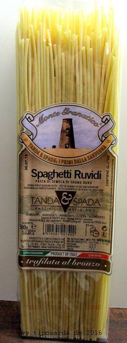Spaghetti ruvidi - sardische Pasta italienischer Klassiker - traditionell mit Bronzeformen hergestellt (Pasta trafilata al bronzo), langsam und schonend getrocknet.    www.tiposarda.de - sardische Spezialitäten & mehr