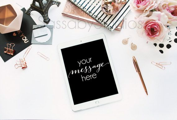 Rose Gold Desk Tablet Office Mockup Styled Stock Photography by SassabyStudios