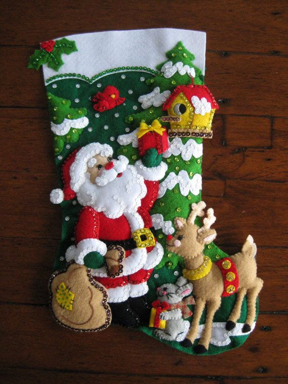 Santa and his Friends  Completed by MissingSockStitchery on Etsy, $110.00