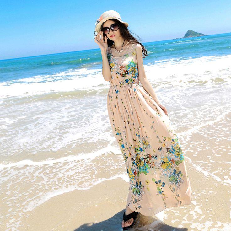 Mystery spectacol nou primăvară 2014 versiunea coreeană a rochie eleganta sifon plajă boem rochie rochie