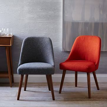 West Elm Mid-Century Dining Chairs, Heathered Weave, Cayenne - Dining Room Chairs - Kitchen Chairs - Kitchen Seating