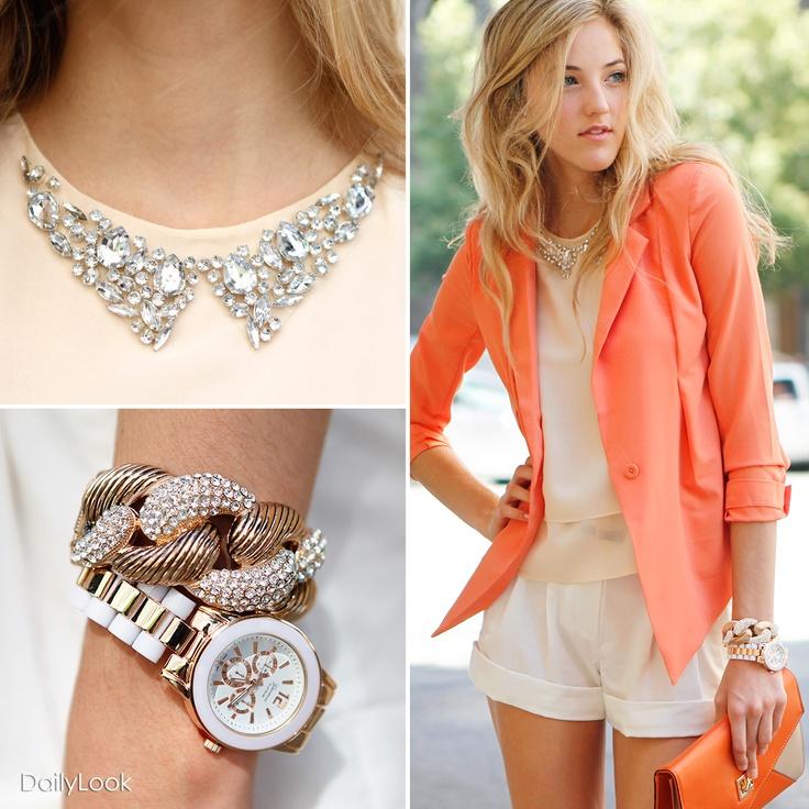 Coral blazer / statement jewelry