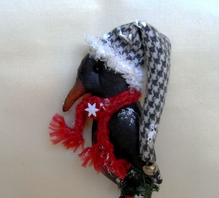 Christmas primitive crow by TheChristmasDen on Etsy