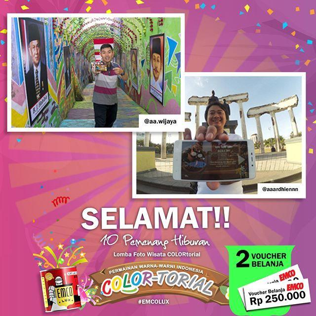 Inilah PEMENANG hiburan Lomba Foto Wisata COLORtorial EMCO!  SELAMAT kepada @aa.wijaya dan @aaardhiennn  Sertakan nama lengkap, alamat lengkap dan nomor telepon ke message fanpage/direct message/inbox EMCO Paint. ^_^  Hadiah berupa voucher belanja masing-masing sebesar Rp 250.000  Selanjutnya siapa pemenangnya ya?  #EMCOLUX, #COLORtorial #travelindonesia #pesonaindonesia #warna #ngecat #surabaya #jakarta #depok #tangerang #bogor #bekasi #bandung #bali #denpasar #jogja #semarang #solo #kediri…