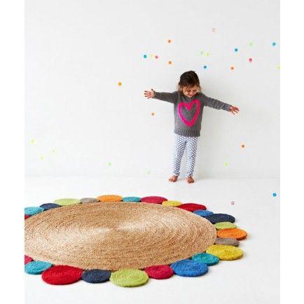 Lark Store / Daisy Flower Weave Rug in brights