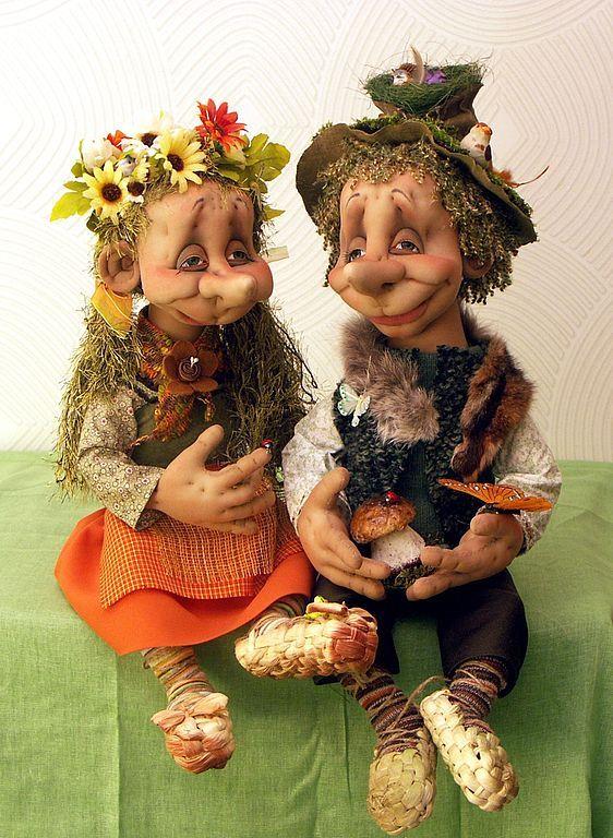 Купить Лесовички - текстильная кукла, скульптурный текстиль, сказочные персонажи, кукла ручной работы