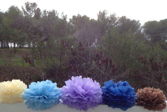 Set of 6 Tissue Paper Pompoms Baby Shower Event by pompomShouse