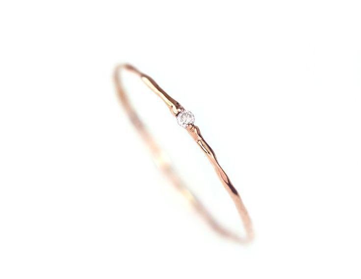 Dünne Gold Ring, einfache Gold-Ring, Diamant-Gold-Ring, Diamant-Zweig-Ring, einfache Verlobungsring, 14 k Solid Gold natürlichen weißen Diamant-Ring – Anna
