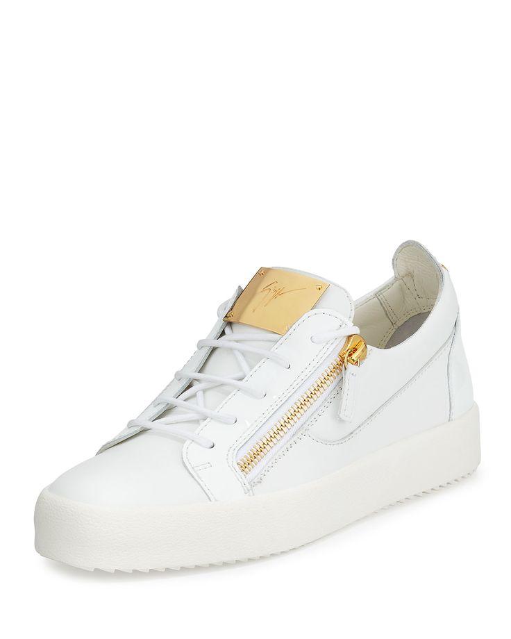 Men's Patent Leather Low-Top Sneaker, White, Size: 47EU/14US - Giuseppe Zanotti