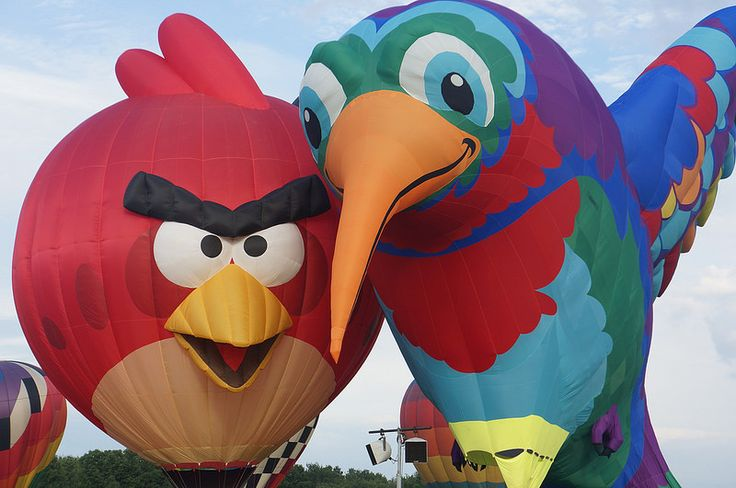 An Angry Bird and a Not-So-Angry Bird at the Quick Chek Balloon Festival by Ricky, Flickr
