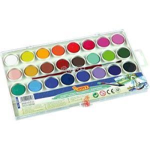 Caja de plastico de acuarelas JOVI con 24 pastillas de colores surtidos, ideal para las manualidades en el colegio. Incluye un pincel y una paleta