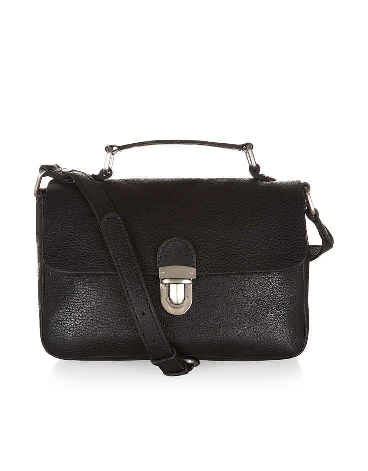 Leather Pushlock Across Body Bag | Black | Accessorize