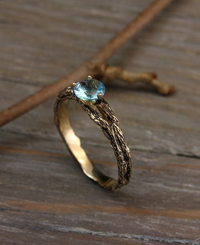 Topaz And Diamond Twig Engagement Ring In Yellow Gold Etsy Twig Engagement Ring Round Diamond Engagement Rings Engagement Rings