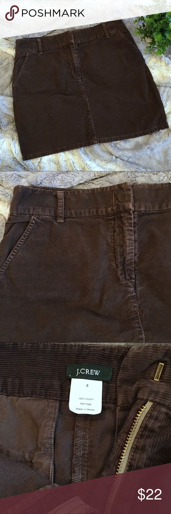 """J. Crew chocolate brown corduroy mini skirt 8 Chocolate brown corduroy skirt from J.Crew. 100% cotton. Front and back pockets, belt loops. In excellent condition. Perfect with a sweater and tights and boots! Size 8 Waistband 16.25"""" across Hip 20"""" across Length 17"""" J. Crew Skirts Mini"""