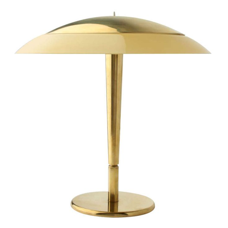 Paavo Tynell; Brass and Glass Table Lamp for Taito Oy, 1950s.
