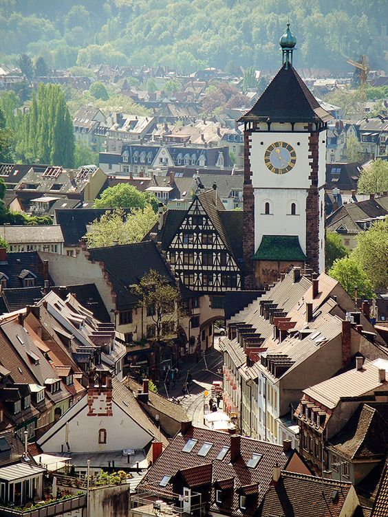 The University town of Freiburg im Breisgau insouthwest Germany's Black Forest.