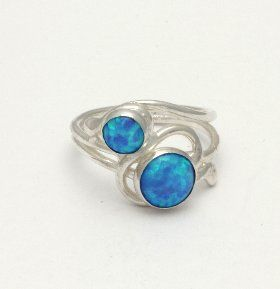 sterling silver ring set with two opals Handmade in the UK by Lavan Jewellery