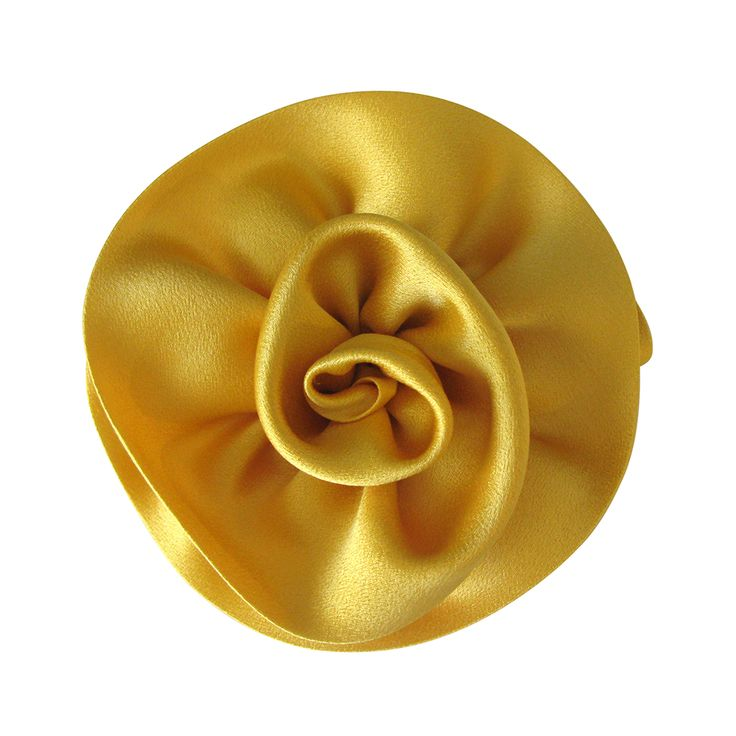 Marvelous handmade haute couture flower brooch by Amalia Karageorgou. The name of this brooch is Margaret and it is made of silk crepe satin in dark yellow color.Measurements: 13cm x 13cm.