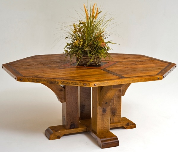 barnwood table pedestal base timber design shown octagon item available in round or square can be made without inlay. beautiful ideas. Home Design Ideas