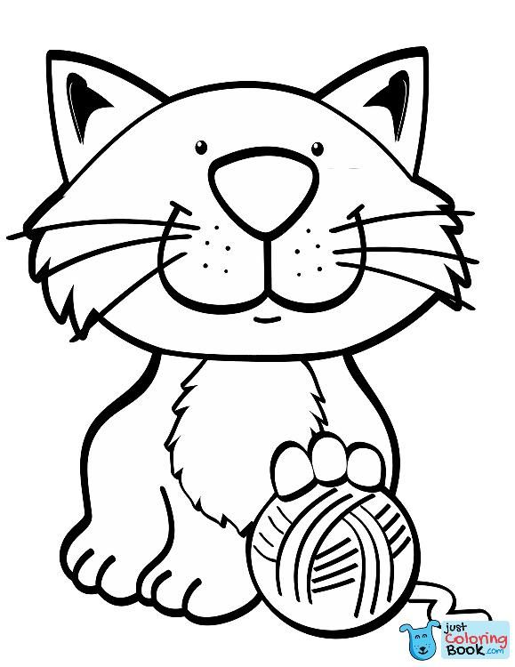 Cat With Yarn Ball Coloring Page Cat Coloring Page Cat Coloring