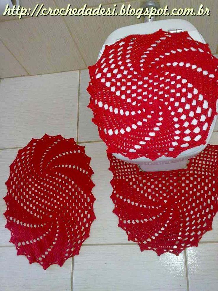 Gráfico  Jogo de Banheiro Oval  Charts, Pink roses and Crochet -> Jogo De Banheiro Oval Simples Com Grafico