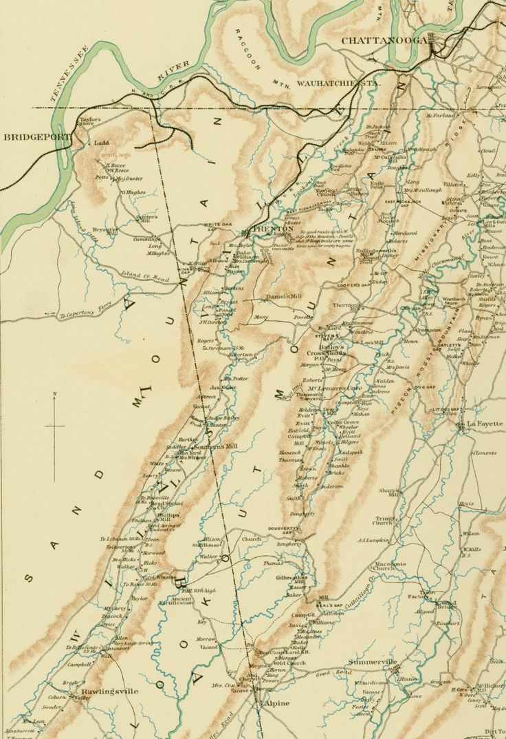 """Sept. 6–7, 1863: James wrote about his movements in the mountains south of Chattanooga during the Chickamauga Campaign. This map shows the topography in the region, where James marched from the crest of Sand Mountain into Will's Valley, and south to Valley Head, Alabama, approximately near the """"B"""" in Alabama. Detail from """"The Chickamauga Campaign."""" Plate 48 from Atlas to Accompany the Official Records of the Union and Confederate Armies. Washington: Government Printing Office, 1891–1895."""