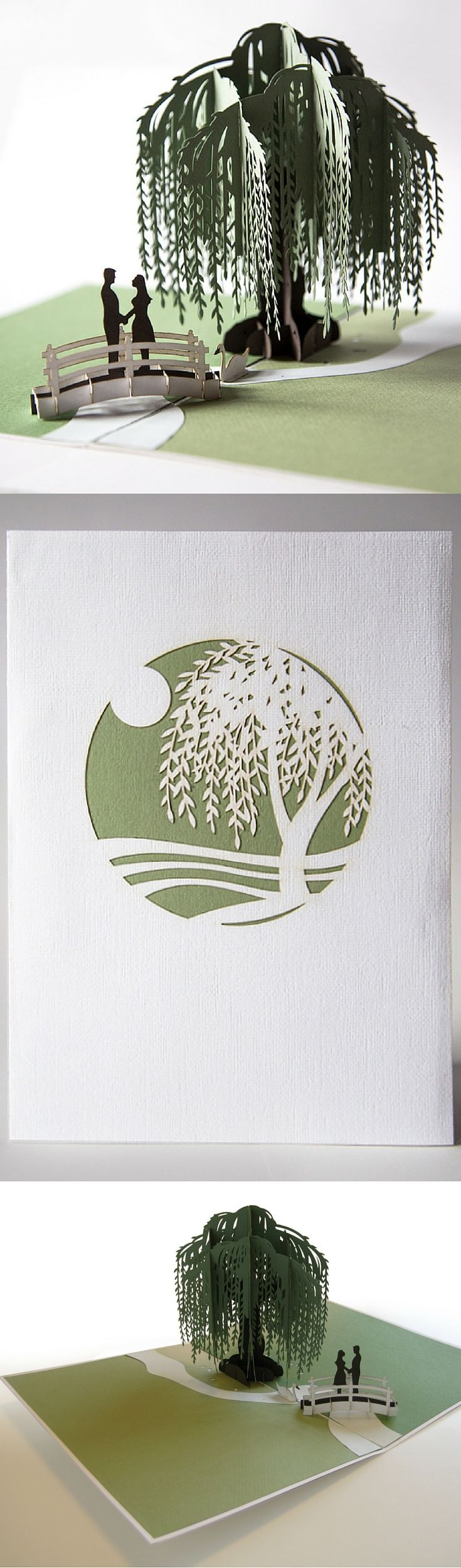 Pop up card of an intimate moment by a willow tree.