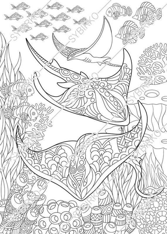Coloring Pages For Adults Stingray Manta Ray Ocean Sea Fish
