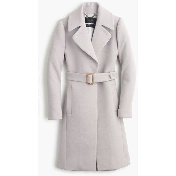 J.Crew Double-Cloth Belted Trench Coat (£365) ❤ liked on Polyvore featuring outerwear, coats, fitted coat, j.crew, lapel coat, leather belt and j crew coat