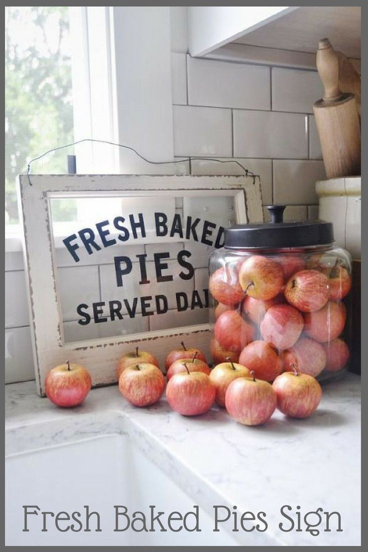 Decorate Your Kitchen With Our Wood And Glass Pie Sign For A Delightfully Vintage Inspired Look With Fres Farmhouse Fall Decor Apple Home Handmade Home Decor