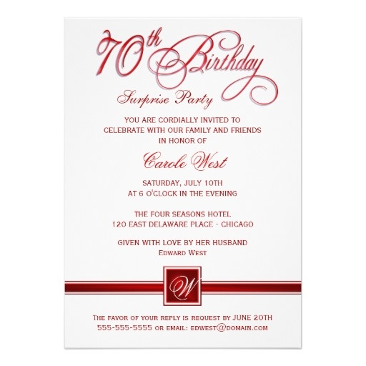70th Birthday Surprise Party Invitations - Red | Birthday ...