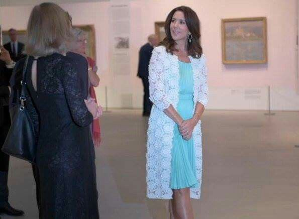 "Crown Princess Mary of Denmark attends opening of French painter Monet exhibition at Ordrupgaard Museum at Ordrupgaard Museum in Denmark on August 23, 2016. The title for the exhibition is: Monet Out Of Expressionism. The exhibition opens to the public on August 24 at Ordrupgaard Museum of Copenhagen in Denmark. The ""Monet: Beyond Impressionism"" exhibition will run until December 4."