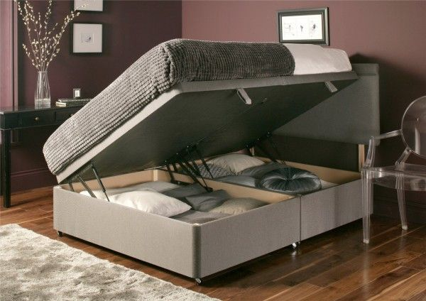 Side-sprung ottoman bed from time4sleep.co.uk. Like the look of storage and colour.