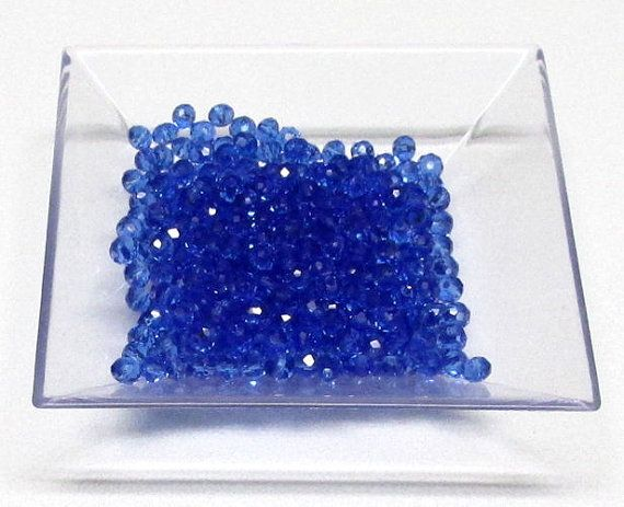 3x4mm Sapphire Faceted Crystal Rondelle Beads,