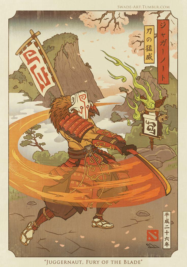 """dota2-blog: """" Juggernaut, Fury of the Blade - Dota 2 by swadeart """""""