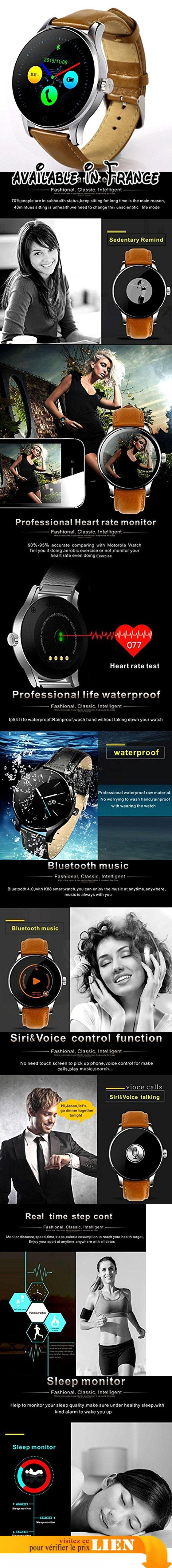 NNouveau K88H Smart Watch Bluetooth caméra à distance fréquence cardiaque moniteur de sommeil podomètre Watch compatible iOS et Android Phone , Brown. 1,22 pouces écran rond 2.5 d incurvé OGS écran, IPS avec vue complète de la conception classique de montres classiques, Super Smart Watch expérience, vous devenez le modèle. MTK chipset de MTK2502C, professionnel statique et dynamique moniteur de fréquence cardiaque compatiable avec iOS et Andriod. Fonction: montrer