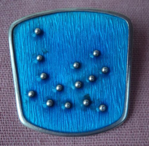 Norwegian Sterling Silver & Blue Enamel Abstract Brooch - Karl Rasmussen Norway